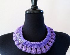 Items similar to Lavender Lilac Violet Purple Color Statement Fiber Collar Necklace with Faceted Crystal Glass Beads on Etsy The Purple, Dusty Pink, Lilac, Rosa Style, Faceted Crystal, Collar Necklace, Metal Chain, Pink Fashion, Glass Beads