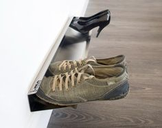 Make your home a little more organized with these 14 great shoe storage options. The horizontal shoe rack gives the appearance that shoes are floating off o Sneaker Storage, Shoe Storage, Storage Spaces, Shoe Racks, Secret Storage, Shoe Shelves, Garage Storage, Storage Rack, Shelving