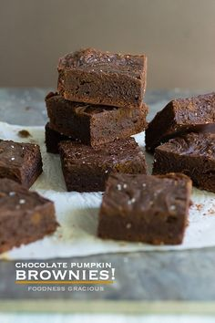 Moist Chocolate Pumpkin Brownies | Foodness Gracious