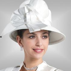 Classic White Ladies Kentucky Derby Hat Brim Church Hat