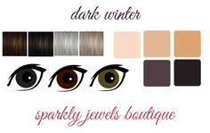 deep/dark winter color palette eyes, hair and skin