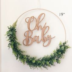 Excited to share this item from my shop: Oh Baby Greenery Backdrop Wreath, Wreath for Baby Shower, Greenery Hoop Wreath for Nursery, Baby Shower Wreath - Faux Eucalyptus Wreath Baby Shower Signs, Baby Shower Themes, Baby Boy Shower, Baby Shower Decorations, Shower Ideas, Blush Nursery, Floral Nursery, Garden Baby Showers, Gold Baby Showers