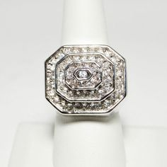 Huge 3 Dimensional QVC Diamonique Art Deco Style Step Cocktail Ring Size 9.5