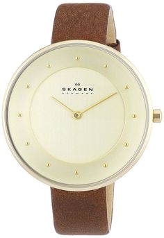 Skagen Women's Quartz Watch with Gold Dial Analogue Display and Brown Leather Bracelet SKW2138: Amazon.co.uk: Watches