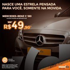 Agora, na #MovidaRentACar, você aluga o Mercedes-Benz C 180, com proteção inclusa, Diária 27h e Km livre, e está pronto para arrasar nas pistas!