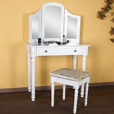 Set masa toaleta alba oglinda tripla scaun cosmetica machiaj @ http://lovelydeco.ro/cele-mai-frumoase-masute-de-toaleta-pentru-cosmetica-si-machiaj/