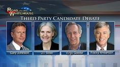 Third Party Presidential debate with Libertarian Party candidate Gary Johnson, Green Party candidate Jill Stein, Constitution Party candidate Virgil Goode, and Justice Party candidate Rocky Anderson – LIVE at 9pm ET on C-SPAN and online here: http://cs.pn/OZPfdI