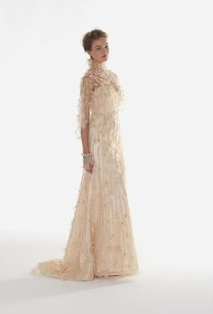 """Brides: Langner Couture - Fall 2013. """"Love"""" gold strapless embroidered tulle and organza A-line wedding dress with matching cape, Langner Couture"""