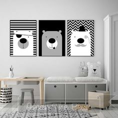 """Set of 3 posters """"Three charming Bears"""" Perfect decoration for children's room and nursery! Nursery Prints, Nursery Room, Nursery Wall Art, Nursery Decor, Baby Boy Room Decor, Baby Boy Rooms, Art Wall Kids, Art For Kids, Painting For Kids"""