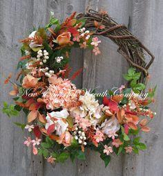 Floral Wreath, Garden Floral Décor, Designer Wreath, Peach Hydrangea, Elegant Wreath