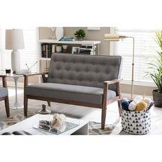 Baxton Studio Sorrento Mid-century Retro Modern Grey Fabric Upholstered Wooden 2-seater Loveseat | Overstock.com Shopping - The Best Deals on Sofas & Loveseats