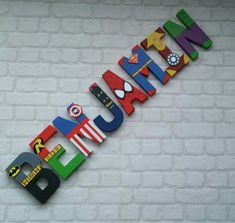Superhero Letters - Personalised Hand Painted Papier Mache letters - Super Hero Letter Kids Name - MADE TO ORDER Papier Mache hand painted letters letter names If you require a longer name please look at my other listing: Superhero Letters, Superhero Names, Superhero Room, Diy Letters, Painted Letters, Superhero Party, Hand Painted, Wood Letters Decorated, Kid Names