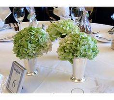 green hydrangea in mint julep cups as centerpiece