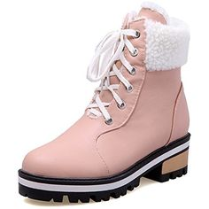 Women's Comfy Mid Chunky Heels Platform Fleece Lined Lace Up Ankle High Martin Snow Boots