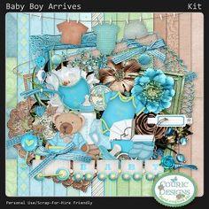 Baby Boy Arrives - Digital Scrapbook Kit