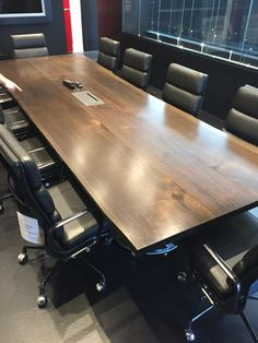 We have helped restaurants and bars, yoga studios, tv productions, retail stores and offices.   Black walnut conference table