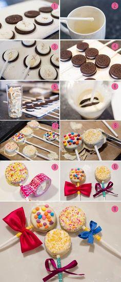 Wedding DIY - How To Make Oreo Pops (Aka.The Yummiest Favousr Ever Wedding DIY - How To Make Oreo Pops - Wedding Favor. Easily done and could use the Golden Vanilla Oreos! Cookie Pops, Oreo Cake Pops, Cupcakes Oreo, Oreo Truffles, Milka Oreo, Yummy Treats, Sweet Treats, Bar A Bonbon, Cakepops