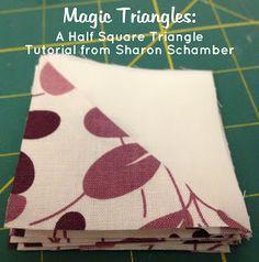Sew Much Like Mom: Half Square Triangle Tutorial: Magic Triangles, Part 1