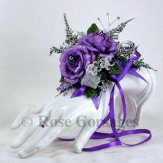 Purple Satin Fabric Rose Designer Wrist Corsage by corsagestudio, $19.50