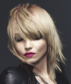Long Blonde straight coloured multi-tonal choppy rock-chick womens hairstyles for women