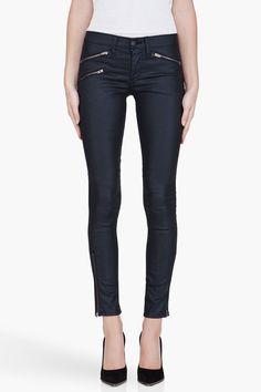 Rag and Bone Black Waxed Jeans