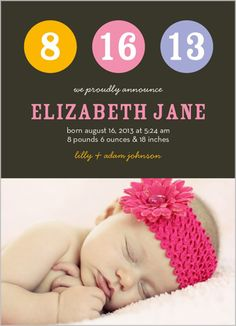 Bubbles Of Girl Birth Announcement