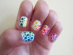 Rainbow Polka Dot Nails - 30 Adorable Polka Dots Nail Designs  <3 <3