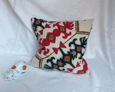 Pillow Cover ~ Decorative ~ Vintage Kashmir Crewel Embroidery ~ Handmade w/ Invisible Zipper Crewel Embroidery Kits, Embroidery Needles, Embroidery Designs, Wool Thread, Red Pillows, Tree Designs, Handmade Pillows, Red Roses