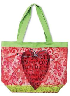 """[""""The Loving Heart tote bag is a colorful re-useable tote bag that you can use for grocery shopping, when heading to the beach, or even everyday use. It features a large heart on both sides with this sentiment printed over the top of it: \""""Your loving heart was made by God quite different than the rest, it's shaped to hold a lot of love and always thinks the best.\""""<br><br><b>Product Details:<\/b><br>Size: 16 1\/2\""""(W) x 13 1\/2\""""(H)<br>Inside zipper pocket-snap closure<br>""""] $19.99"""