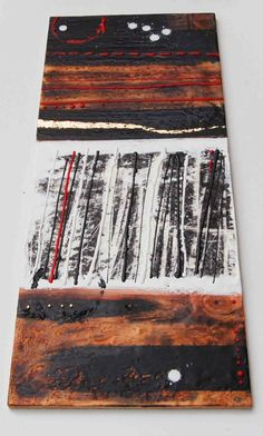 Winter WOODS Original Encaustic Painting