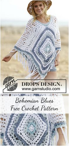 "Today I would like to show you a very beautiful crochet pattern called ""Bohemian Blues"" by DROPS Design. This pattern is written in American English. Crochet Poncho Patterns, Crochet Jacket, Crochet Shawl, Crochet Stitches, Free Crochet, Knit Crochet, Crochet Sweaters, Crochet Summer, Crochet Bodycon Dresses"