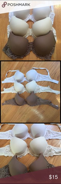 Gorgeous white, beige and tan bras Gorgeous beige, white and tan Maidenform bras! Smooth, padded cups with lace detail on sides, around cups and in center. Regular straps. . Double hook closure with three size settings. Great bra! Excellent condition. One of each color available. Maidenform Intimates & Sleepwear Bras
