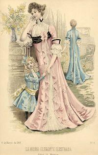 edwardian and world war I fashion plates  Woman and Child, La Moda Elegante Ilustrada, no. 9, March 6, 1901 (Lingerie Dress)