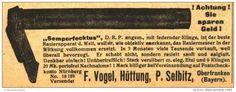 """Original-Werbung/ Anzeige 1920 - RASIERAPPARAT """"SEMPERFECKTUS"""" / VOGEL - HÜTTUNG - SELBITZ - ca. 100 x 40 mm"""