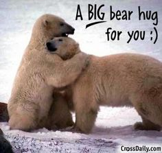 A big bear hug for my BFF when I see you next it was good seeing you for a smidgen there;) loved your text that said it made your day; Need A Hug, Love Hug, My Love, Hug Pictures, Animal Pictures, Emoji Pictures, Daily Pictures, Amazing Pictures, Pictures Images