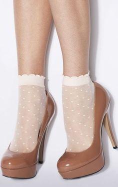 Chocolate heel♥ Adorable dotty socks and heels Socks And Heels, Ankle Socks, Shoes Heels, Pumps, Ankle Pants, Sheer Socks, Tan Heels, Aesthetic Shoes, Aesthetic Clothes