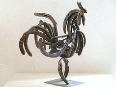 Cock primitive metal art sculpture steel by KleinManzanoArt