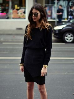 long sleeve, little black dress with cinched waist and aviator style sunglasses. #streetstyle #offduty