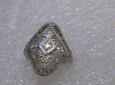 Vintage Victorian 14kt Filigree Diamond Ring Size by stampshopgirl