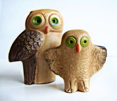 miniature owl vintage | Vintage Painted Clay Owl Figurines Set of 2 Mother and Baby owls ...