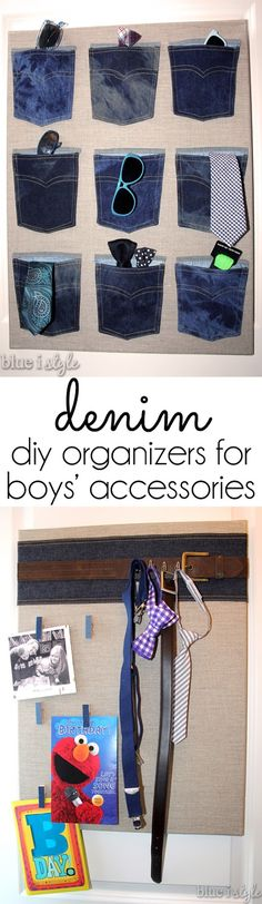 SUCH A SMART & STYLISH way to organize boys' accessories. These two DIY organizers are perfect for sunglasses, belts, watches, neck ties, bow ties, and suspenders. They can be hung on the back of a door or on a closet wall.