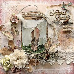 Newly Listed~Reneabouquets-Blue Fern Studios Natural Beauty Premade Scrapbook Page 12 x 12  Shabby Chic, Wedding, Mixed Media, Layout