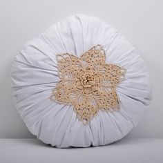 hand made decorative round crochet pillow by lacydreamycreamy