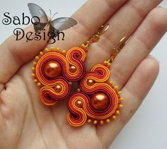 Soutache earrings  handmade embroidery by SaboDesign.
