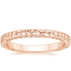 14K Rose Gold Verona Ring from Brilliant Earth.  Milgrained borders and a hand-engraved pattern make this antique-style wedding ring truly sophisticated.  Price: $825