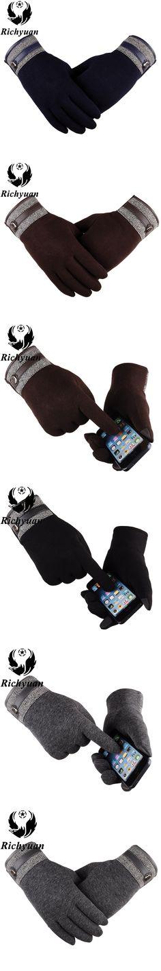 2017 England Autumn Winter Gloves Men Classic Belt Buttons Soft Lining Touch Screen Cotton Driving Warm Sheepskin Gloves Mittens