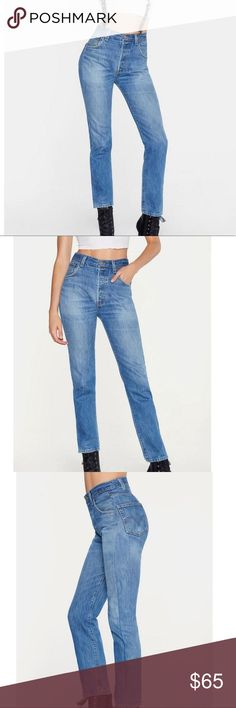 Nasty gal after party vintage long haul jeans reposh limited edition pants, high waisted After Party Vintage is our limited edition collection of hard-to-find vintage, reimagined and reworked in Los Angeles. The Long Haul Jeans feature a non-stretch fit, high-waisted silhouette, slim fit, faded detailing, 5-pocket design, and button fly closure. Each pair is made from vintage material and completely one-of-a-kind; wash machine . Order size up runs small Levi's Jeans