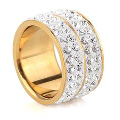 New Gold Color Classic design Four Row Crystal Rings For Women Wedding Jewelry #Affiliate