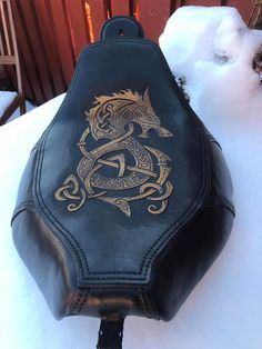 Dyrviks Leather Sweden. Harley Davidson seat that I made, Tooled Leather , hand-sawn.