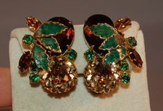 Signed Alice Caviness Large Rhinestone/Enameled Earrings!  STATEMENT PIECES! #AliceCaviness